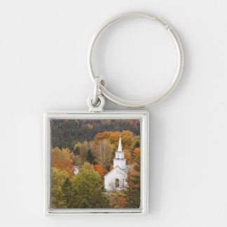 Autumn landscape with church, Vermont, USA Silver-Colored Square Key Ring