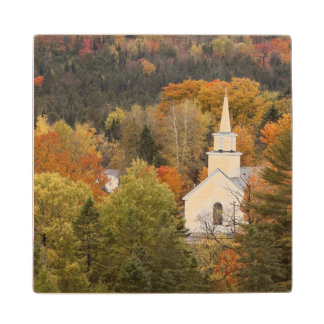 Autumn landscape with church, Vermont, USA Maple Wood Coaster