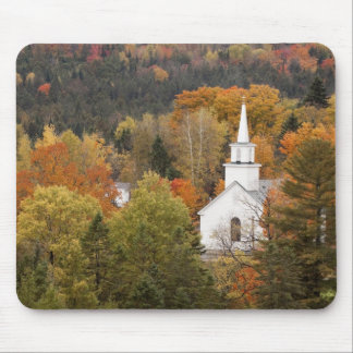 Autumn landscape with church, Vermont, USA Mouse Mat