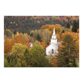 Autumn landscape with church, Vermont, USA Photo Print