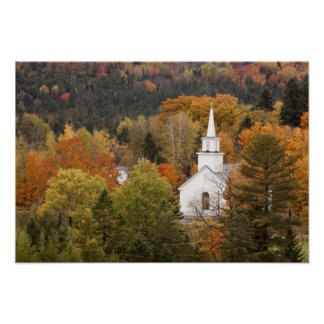 Autumn landscape with church, Vermont, USA Poster