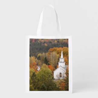 Autumn landscape with church, Vermont, USA Reusable Grocery Bag