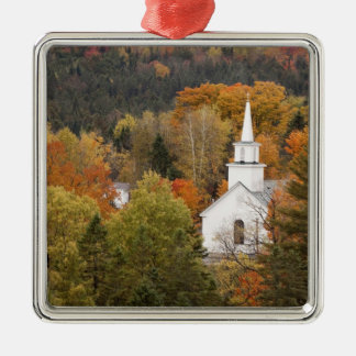 Autumn landscape with church, Vermont, USA Silver-Colored Square Decoration