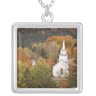 Autumn landscape with church, Vermont, USA Silver Plated Necklace
