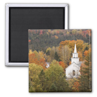 Autumn landscape with church, Vermont, USA Square Magnet
