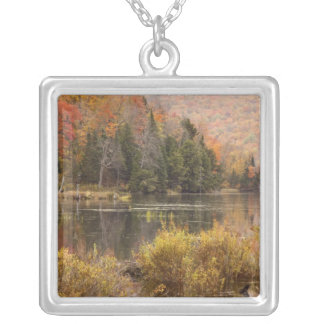 Autumn landscape with lake, Vermont, USA 3 Silver Plated Necklace