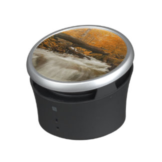 Autumn landscape with trees, river and sun bluetooth speaker