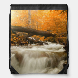Autumn landscape with trees, river and sun drawstring bag