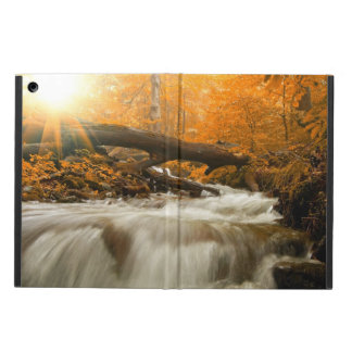 Autumn landscape with trees, river and sun iPad air cover