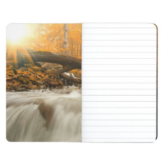 Autumn landscape with trees, river and sun journal