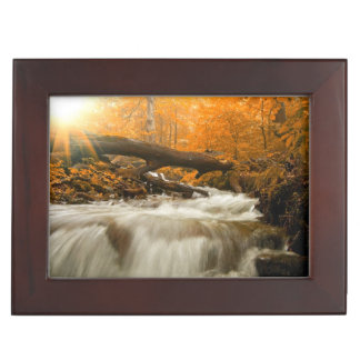 Autumn landscape with trees, river and sun keepsake box