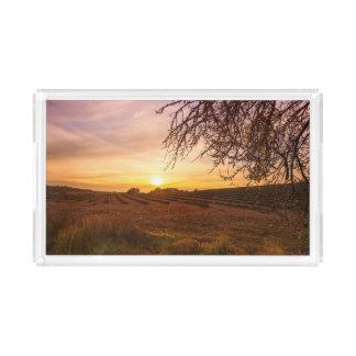 Autumn lavender field on sunset acrylic tray