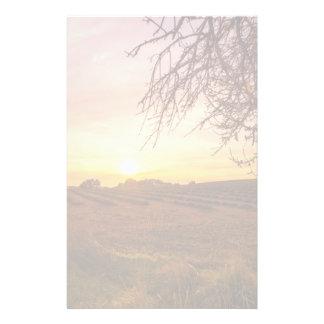 Autumn lavender field on sunset customized stationery