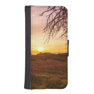 Autumn lavender field on sunset iPhone SE/5/5s wallet case