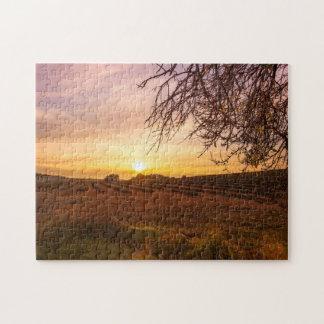 Autumn lavender field on sunset jigsaw puzzle