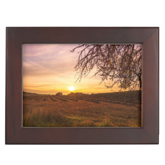 Autumn lavender field on sunset keepsake box