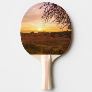 Autumn lavender field on sunset ping pong paddle