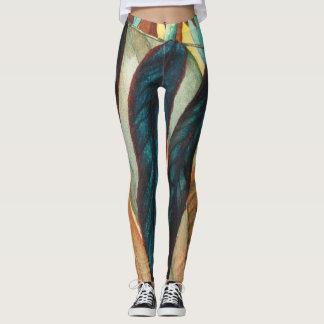autumn leaf colors original stylized modern art leggings