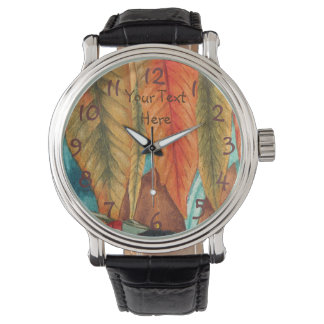 autumn leaf colors original stylized modern art wristwatches