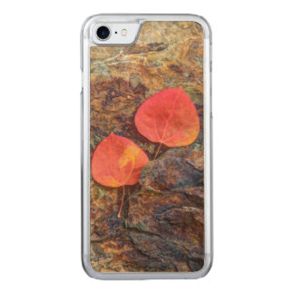 Autumn leaf on rock, California Carved iPhone 7 Case
