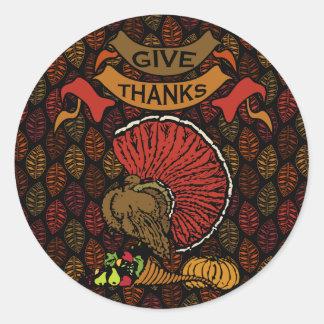 Autumn Leaf Pattern Round Sticker