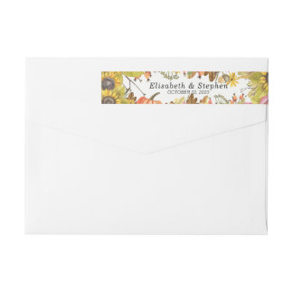 Autumn Leaf Pumpkin Sunflower Return Address Label
