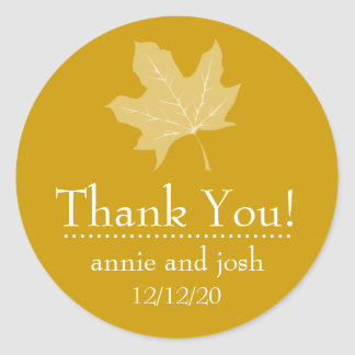 Autumn Leaf Thank You Labels (Harvest Gold) Round Sticker