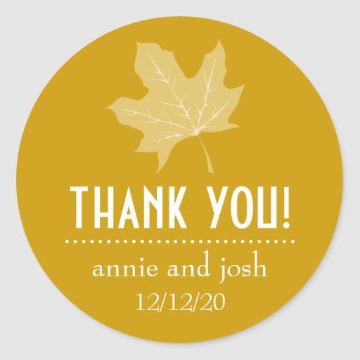 Autumn Leaf Thank You Labels (Harvest Gold) Round Sticker