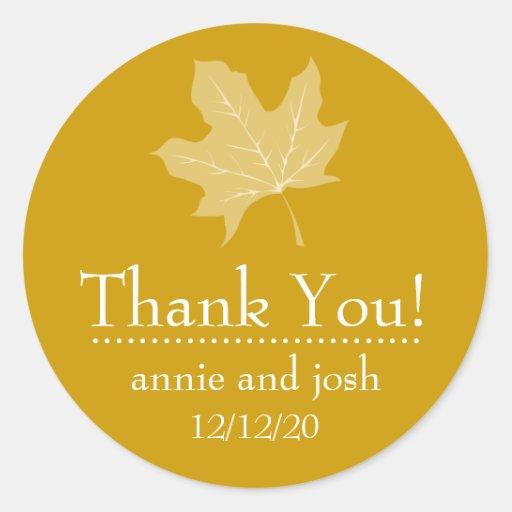 Autumn Leaf Thank You Labels (Harvest Gold) Sticker
