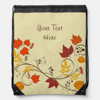Autumn Leaf Vines with Customizable Text Rucksack