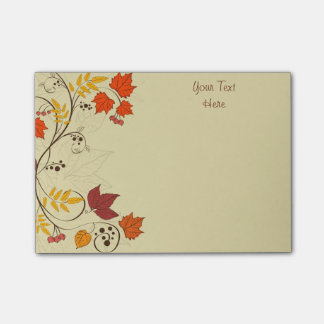 Autumn Leaf Vines with Customizable Text Post-it Notes