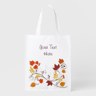 Autumn Leaf Vines with Customizable Text Grocery Bags
