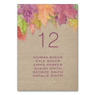 Autumn Leaf Wedding table number WITH NAMES 3973