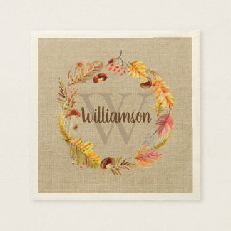 Autumn Leaf Wreath Custom Monogram Thanksgiving Disposable Napkin