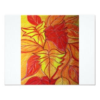 autumn leaves 11 cm x 14 cm invitation card
