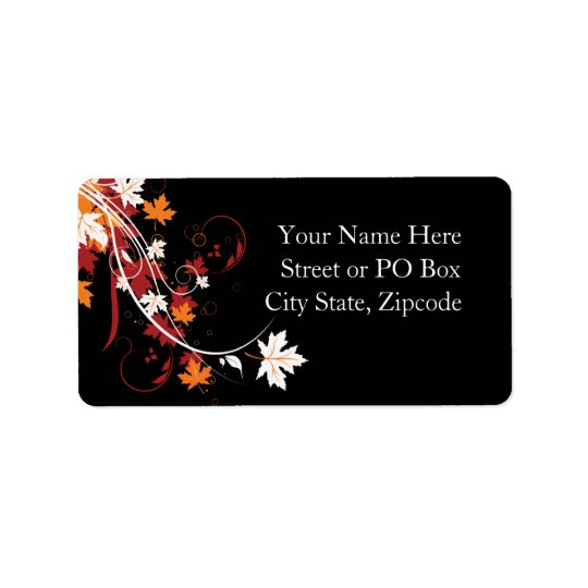 Autumn Leaves Abstract Address Label
