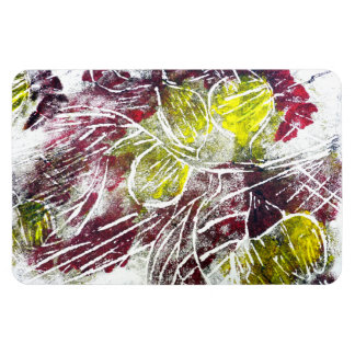 Autumn Leaves. Abstract in Red and Yellow. Rectangular Photo Magnet