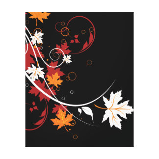 Autumn Leaves Abstract Stretched Canvas Print