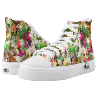 Autumn Leaves Abstract Zipz High Top Adult Shoes Printed Shoes