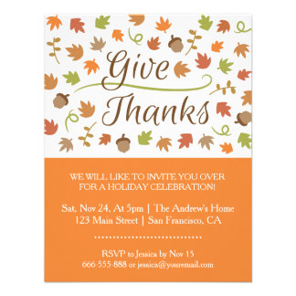 Autumn Leaves Acorns Thanksgiving Dinner Party Personalized Announcements