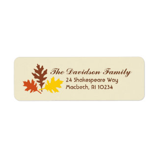 Autumn Leaves Address Label on Cream