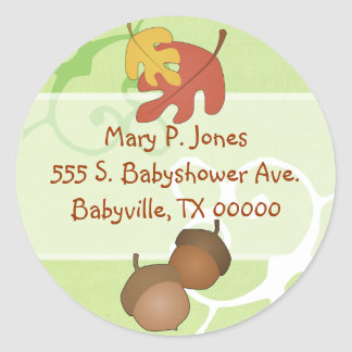 Autumn Leaves and Acorns Address Label Stickers