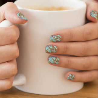Autumn Leaves and blue Sky Minx Nail Art