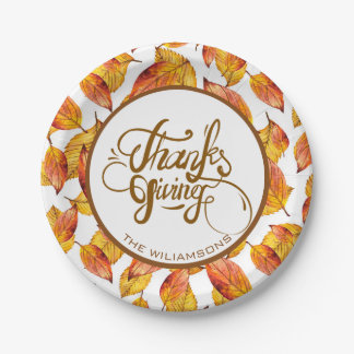 Autumn Leaves And Brown Text Design-Thanks Giving Paper Plate