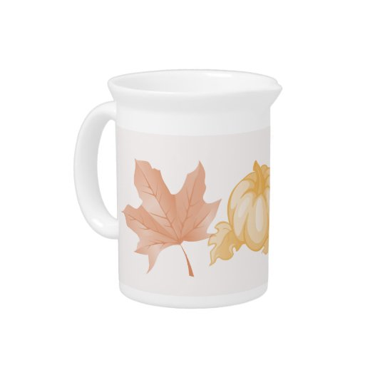 Autumn Leaves and Pumpkin Design Pitcher