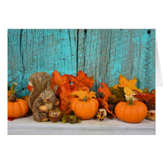 autumn leaves and squirrel greeting card