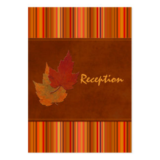 Autumn Leaves and Stripes Enclosure Card Business Card Templates