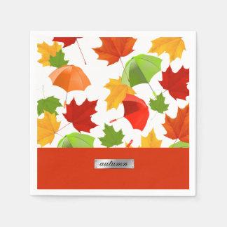 Autumn Leaves and Umbrellas Paper Napkin