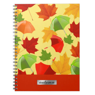 Autumn Leaves and Umbrellas Spiral Notebook