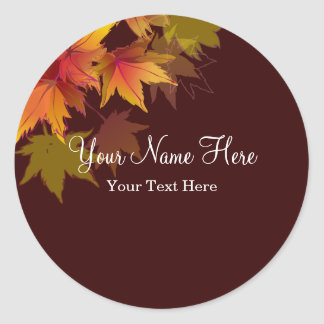 Autumn Leaves are Falling Classic Round Sticker